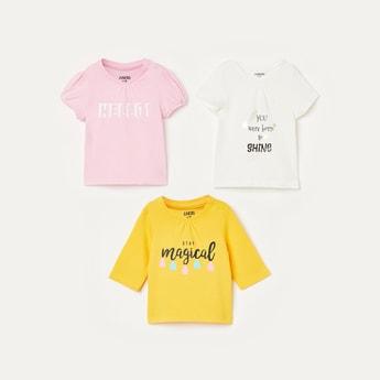 JUNIORS Girls Printed Round Neck T-shirt - Set of 3 Pcs