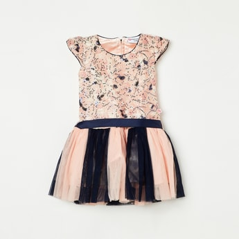 PEPPERMINT Girls Sequinned Colourblock Tulle Dress