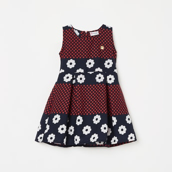 PEPPERMINT Girls Floral Print Sleeveless Fit and Flare Dress