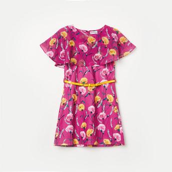 PEPPERMINT Girls Floral Print Cape Dress with Detachable Belt