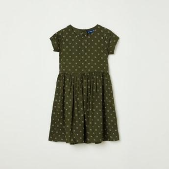 FAME FOREVER KIDS Girls Printed Short Sleeves Dress