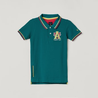 ALLEN SOLLY Boys Embroidered Polo T-shirt