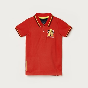 ALLEN SOLLY Boys Embroidered Short Sleeves Polo T-shirt