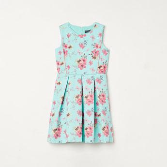 ALLEN SOLLY Girls Floral Print A-Line Dress