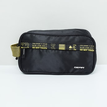 MAX Printed Tape Detailed Toiletry Pouch