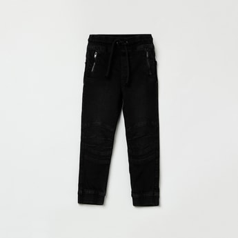 MAX Stonewashed Elasticated Denim Joggers