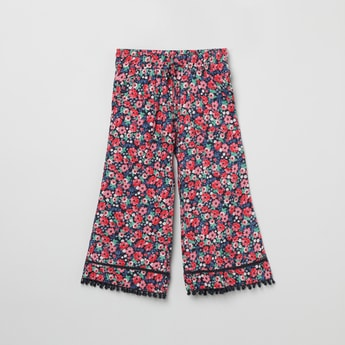 MAX Floral Print Bobble Trimmed Palazzos