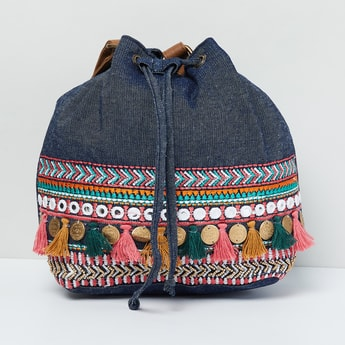 MAX Tasselled Embroidered Sling Bag with Mirror Work