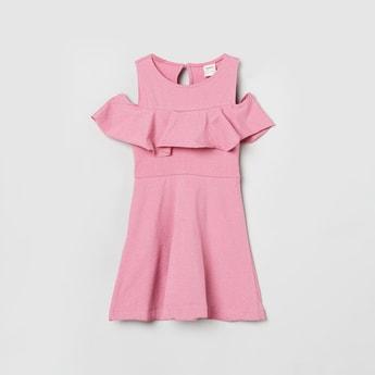 MAX Textured Cold-Shoulder A-line Dress