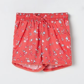MAX Floral Print Shorts with Lace Trim