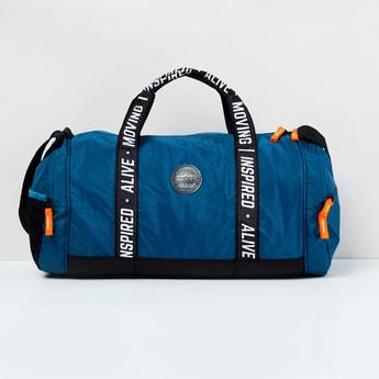 MAX Typographic Print Textured Gym Duffel Bag
