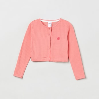 MAX Textured Round Neck Cardigan