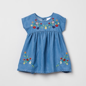MAX Floral Embroidery A-line Dress