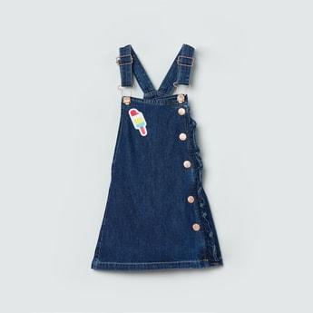 MAX Solid Denim Pinafore Dress with Applique