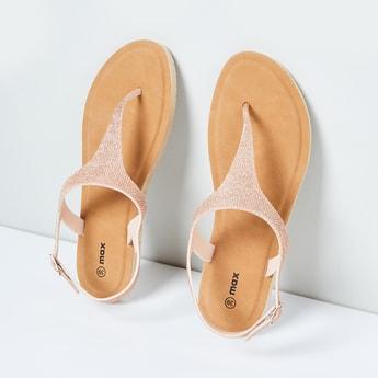 MAX Textured T-strap Flat Sandals