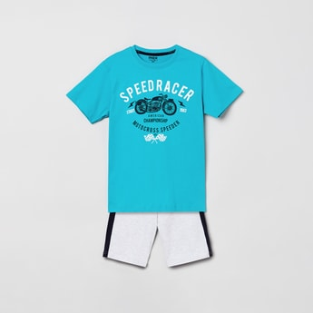 MAX Typographic Print T-shirt with Elasticated Shorts