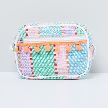 MAX Patterned Bobble Trim Zip-Closure Sling Bag