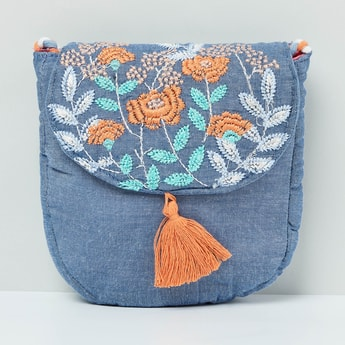 MAX Floral Embroidery Tasselled Sling Bag