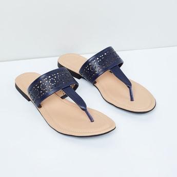 MAX Laser-Cut T-strap Flat Sandals