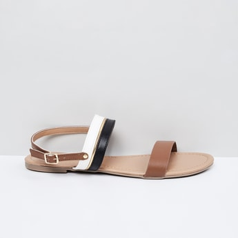 MAX Colourblocked Ankle-Strap Sandals