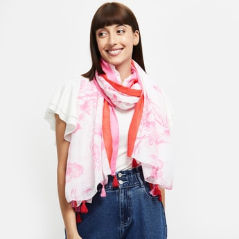 MAX Floral Printed Tasseled Stole