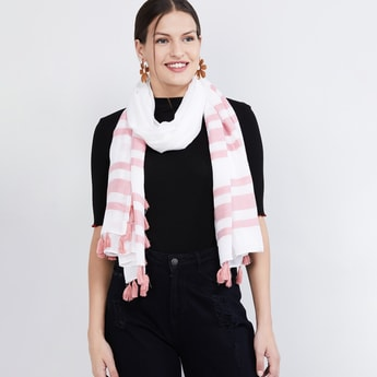 MAX Striped Tassel Detailed Scarf