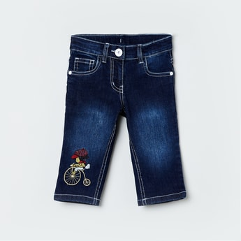 MAX Stonewashed Embroidered Slim Fit Jeans