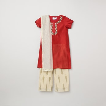 MAX Embroidered Tunic with Churidar and Dupatta
