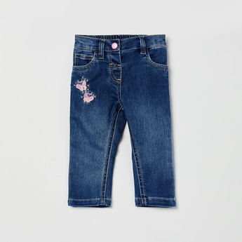 MAX Dark Washed Slim Jeans with Butterfly Embroidery