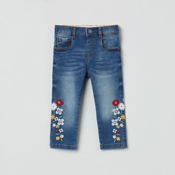 MAX Floral Embroidery Dark Washed Jeans