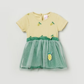 MAX Fit and Flare Dress with Pineapple Applique