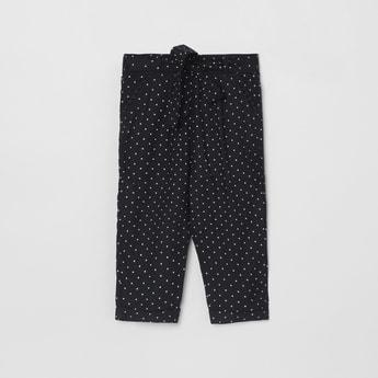 MAX Polka Dot Printed Pants with Sash Tie-Up