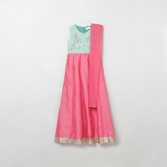 MAX Embroidered A-Line Kurta with Solid Dupatta