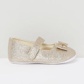 MAX Shimmery Mary Janes with Embellished Applique