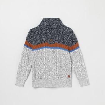 MAX Colourblocked Knit Cowl-Neck Sweater