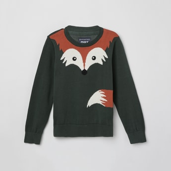 MAX Intarsia Patterned Full Sleeves Sweater