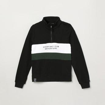 MAX Printed High-Neck Sweatshirt with Zip-Closure