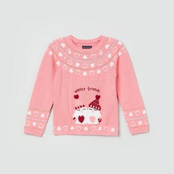 MAX Jacquard Pattern Round Neck Sweater