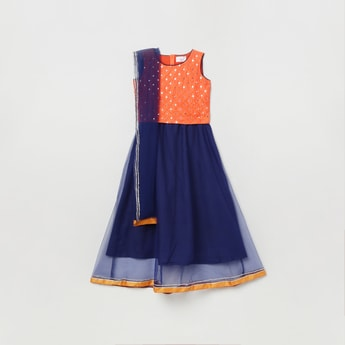 MAX Mirror Embellished Ethnic Top and Skirt with Dupatta