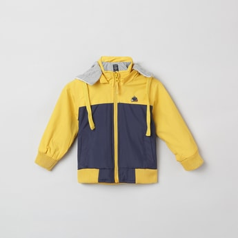 MAX Colorblocked Hooded Bomber Jacket