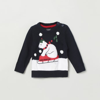 MAX Appliqued Full Sleeves Sweater