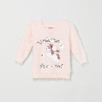 MAX Sequinned Sweater with Applique