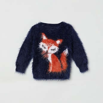 MAX Fox Patterned Fuzzy Knit Sweater