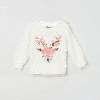 MAX Embellished Fuzzy Sweater