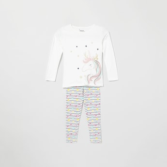 MAX Printed Full Sleeves Top with Elasticated Pants