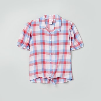 MAX Checked Tie-Up Detailed Shirt