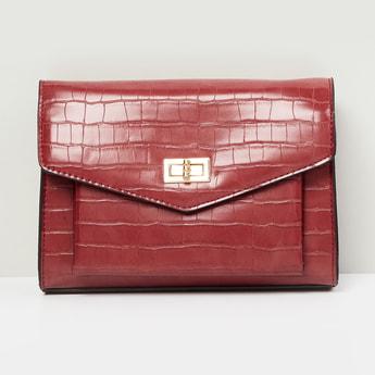 MAX Textured Flap-Closure Sling Bag