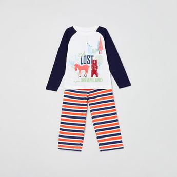 MAX Graphic Print T-shirt with Striped Pyjamas