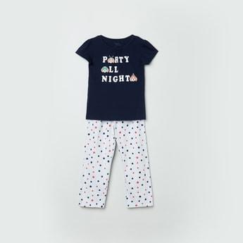 MAX Printed Cap Sleeves T-shirt with Elasticated Pants