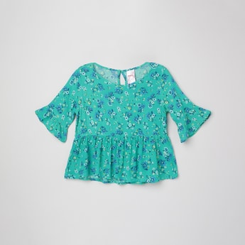 MAX Floral Print Peplum Top with Bell Sleeves